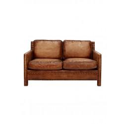 Retro Saloon 2 Seater Leather Sofa